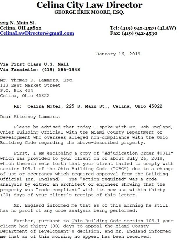 celina hotel - city notice